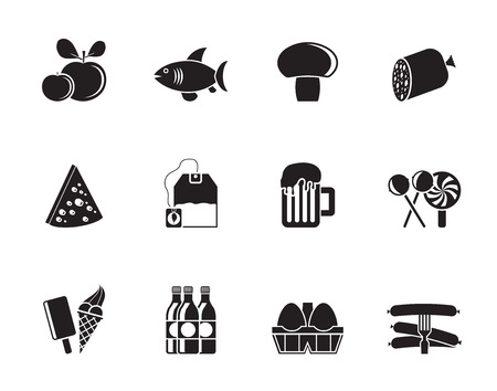 Silhouette food, drink and shop icons - vector icon set