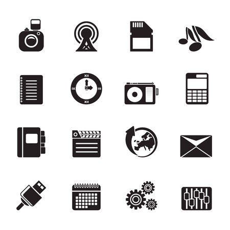 polyphony: Silhouette Phone Performance, Business and Office Icons - Vector Icon Set
