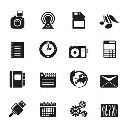 Performance de téléphone Silhouette, Business et icônes de bureau - Vector Icon Set