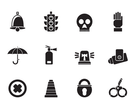 Silhouette Surveillance and Security Icons - vector icon set Vector
