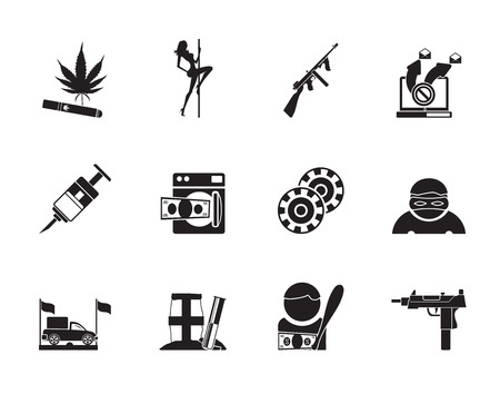 laundering: Silhouette mafia and organized criminality activity icons - vector icon set