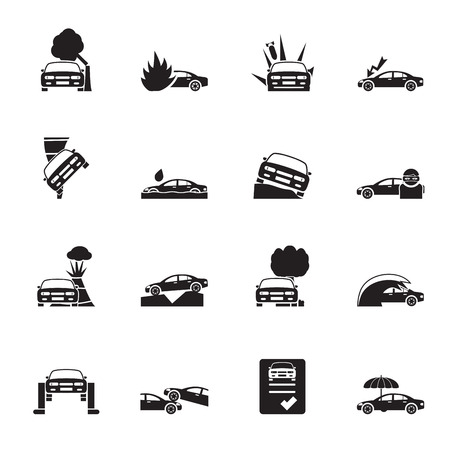 Silhouette car and transportation insurance and risk icons - vector icon set Illustration
