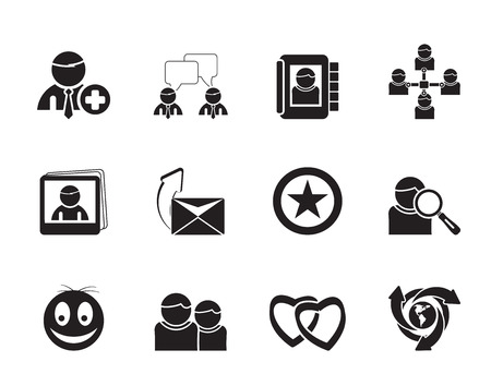 Silhouette Internet Community and Social Network Icons - vector icon set