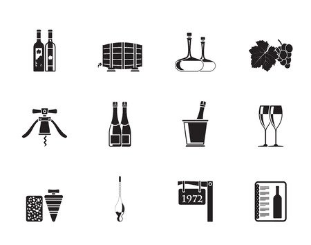 Silhouette Wine and drink Icons - Vector Icon Set Illustration