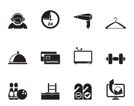 switchboard operator: Silhouette hotel and motel amenity icons  - vector icon set Illustration
