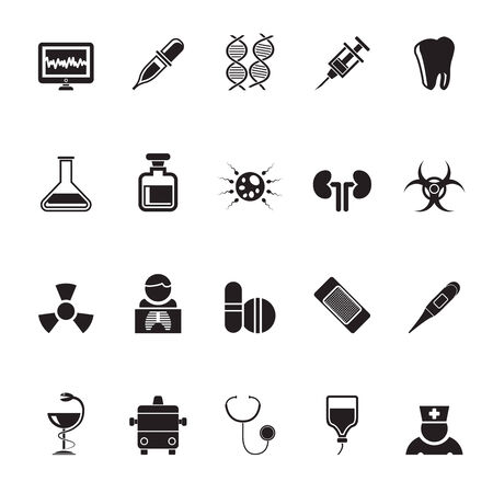 Silhouette Healthcare, Medicine and hospital icons - vector icon set Vector