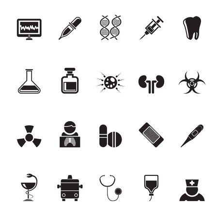 liquid x: Silhouette Healthcare, Medicine and hospital icons - vector icon set