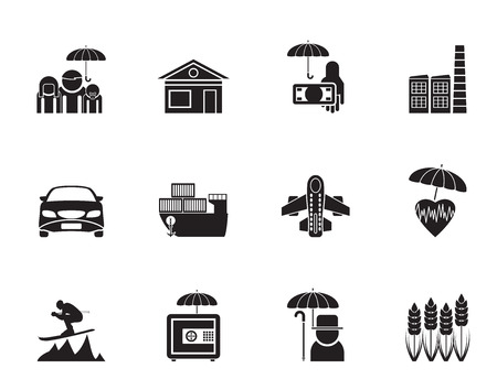 Silhouette different kind of insurance and risk icons - vector icon set Vector