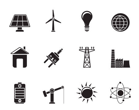 npp: Silhouette power, energy and electricity icons - vector icon set