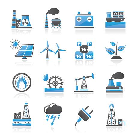 radiacion solar: Electricidad y fuente de energ�a iconos - vector icon set