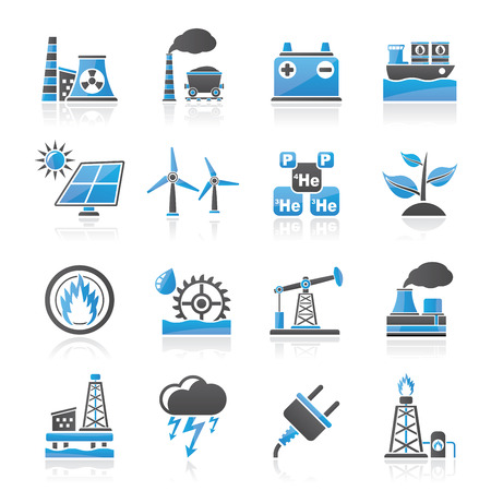 Electricity and Energy source icons - vector icon set Stock Illustratie