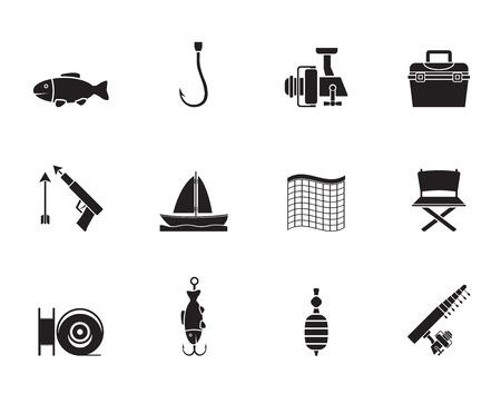 fischerei: Silhouette Angeln und Urlaub Icons - Vector Icon Set Illustration