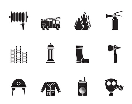 gas mask: Silhouette fire-brigade and fireman equipment icon - vector icon set
