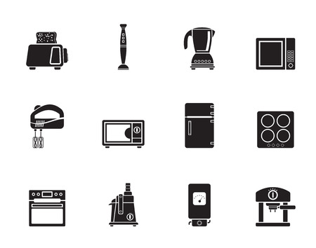 icebox: Silhouette Kitchen and home equipment icons - vector icon set