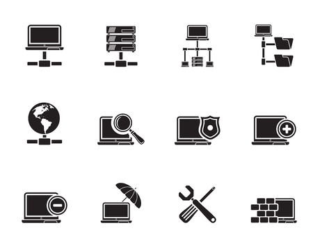 Silhouette Network, Server and Hosting icons - vector icon set  Vector