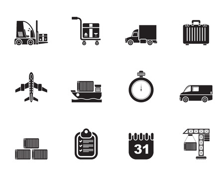cargo plane: Silhouette logistics, shipping and transportation icons - vector icon set