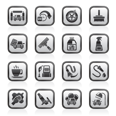 cleaning cloth: car wash objects and icons - vector icon set Illustration