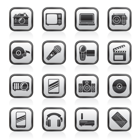 Media and technology icons - vector icon set Vector