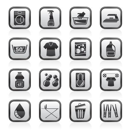 basin: Washing machine and laundry icons - vector icon set