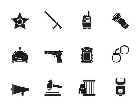electrocution: Silhouette law, order, police and crime icons - vector icon set