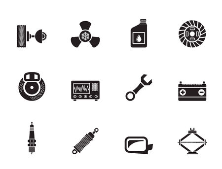 sparking plug: Silhouette Car Parts and Services icons - Vector Icon Set