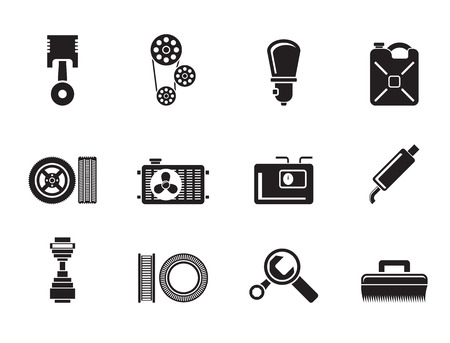 Silhouette Car Parts and services  - Vector Illustration