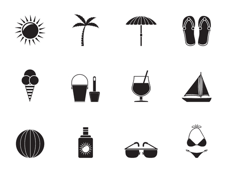 Silhouette Summer, Holiday and beach objects - Vector Illustration Vector