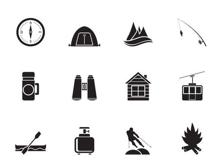 fishing hut: Silhouette travel, Tourism, vacation and mountain objects - vector illustration Illustration