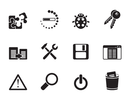 Silhouette developer, programming and application icons - vector icon set Vector