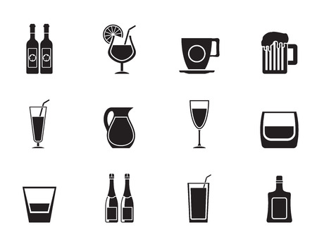 whiskey bottle: Silhouette different kind of drink icons