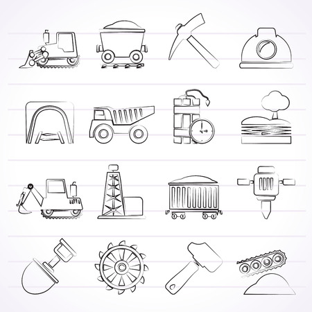 Mining and quarrying industry icons - vector icon set Vector