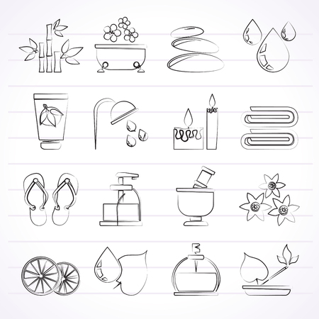 Spa and relax objects icons - vector icon set Vector