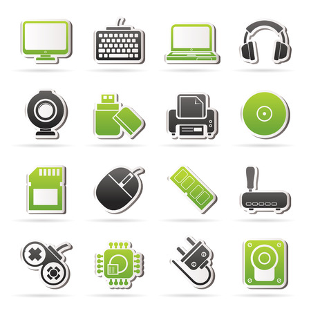 peripherals: Computer peripherals and accessories icons - vector icon set