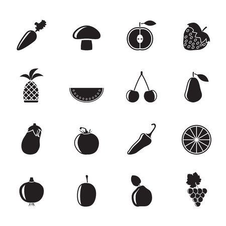 prune: Silhouette Different kinds of fruits and Vegetable icons - vector icon set Illustration