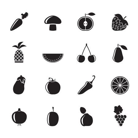 membrillo: Silueta Diferentes tipos de frutas y vegetales iconos - vector icon set