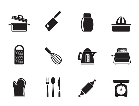 preparing food: Silhouette Kitchen and household Utensil Icons - vector icon set Illustration