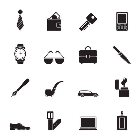 lighter: Silhouette man accessories icons and objects- vector illustration Illustration