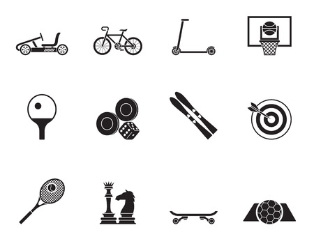 backgammon: Silhouette sports equipment and objects icons - vector icon set 2