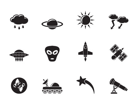 astronautics: Silhouette Astronautics and Space and universe Icons - Vector Icon Set