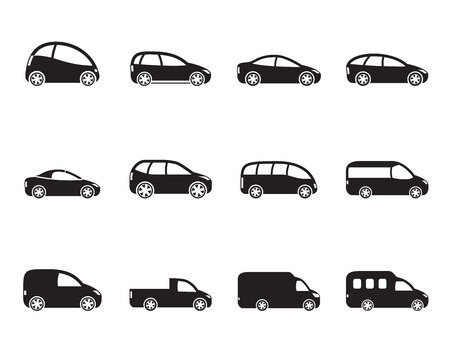cabrio: Silhouette different types of cars icons - Vector icon set Illustration