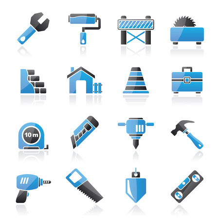 buzz saw: Building and construction icons - vector icon set