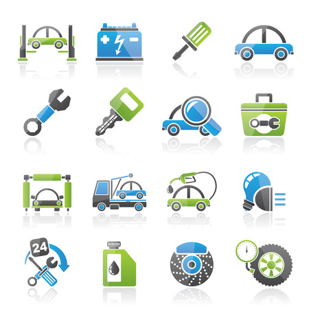 Car service maintenance icons - vector icon set Vector