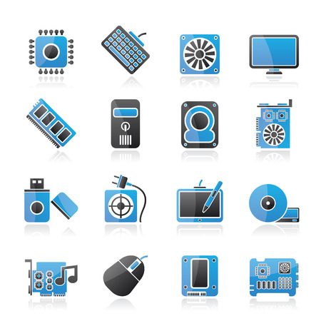 vga: Computer part icons - vector icon set Illustration