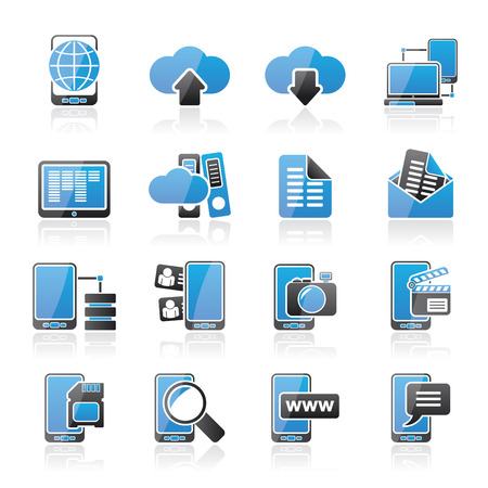 mobile communication: Connection, communication and mobile phone icons - vector icon set