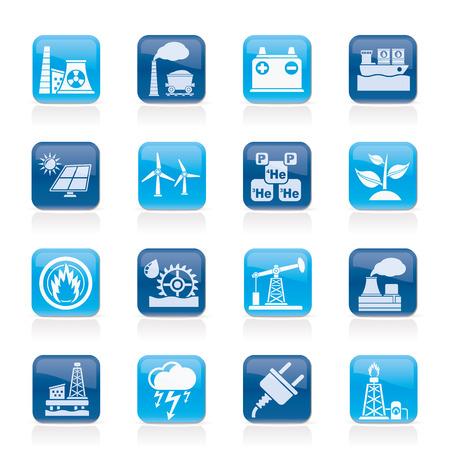 thermal power plant: Electricidad y fuente de energ�a iconos - vector icon set