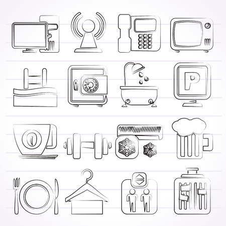 Hotel Amenities Services Icons - vector icon set Vector