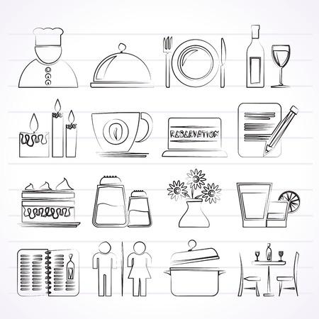 facture restaurant: Restaurant, caf� et bar ic�nes vecteur ic�ne ensemble Illustration