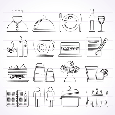 Restaurant, cafe and bar icons- vector icon set Vector