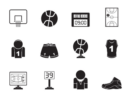 tournament bracket: Silhouette Basketball and sport icons Illustration