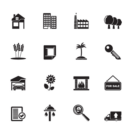 garden key: Silhouette Real Estate and building icons